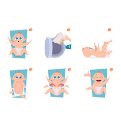 Changing diapers steps healthcare medical vector