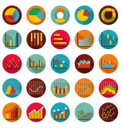 chart diagram icon set flat style vector image