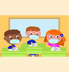 children wearing protection masks at school vector image