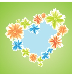 colored flowers as heart symbol on green backgroun vector image