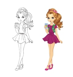 Coloring Book Of Coffee Girl vector
