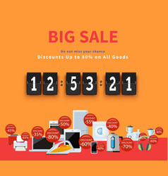Countdown Big Discounts Flat Design vector