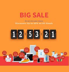 Countdown big discounts flat design vector