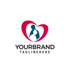Couple with heart logo brand symbol vector