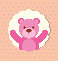 cute pink toy bear dotted background vector image