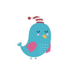 cute sleeping bird in hat blue bird isolated vector image