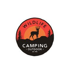 deer silhouette sunset logo design inspiration vector image