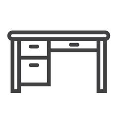desk line icon furniture and interior vector image vector image
