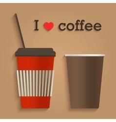 Disposable coffee cup flat design icon concept vector