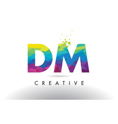Dm d m colorful letter origami triangles design vector