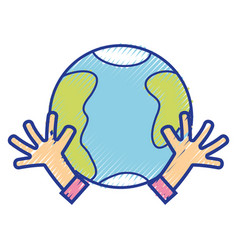Earth planet with hands and peace symbol vector
