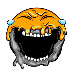 emoticon with big laugh crying sun vector image