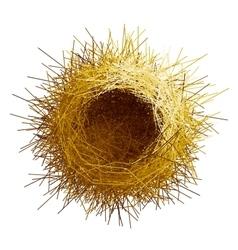 Empty birds nest Top view vector