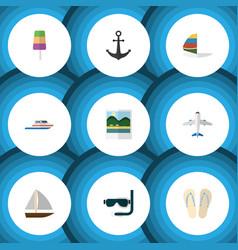 flat icon beach set of beach sandals sundae vector image