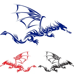 flying drag blue red and black asian tattoo vector image
