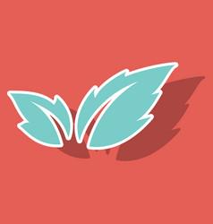Fresh basil leaves icon sticker of basil leaves vector