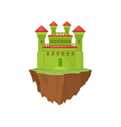 green medieval stone island castle on white vector image