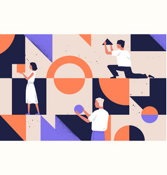 group people arranging abstract geometric vector image