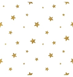 Grunge seamless pattern of gold glitter stars vector