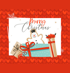 hand drawn abstract fun merry christmas vector image