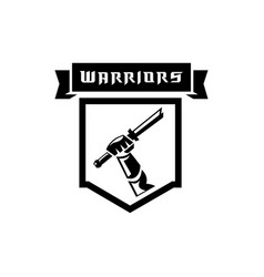 hand held broken sword warrior logo vector image
