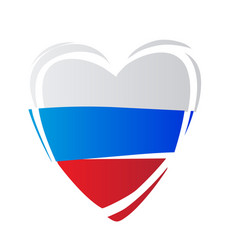 heart in colors of russian flag russian style vector image