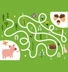 help cute hungry pig find path to acorns vector image