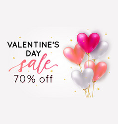 holiday romantic sale with realistic 3d flying vector image
