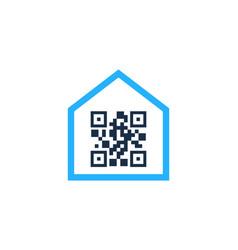 home barcode logo icon design vector image