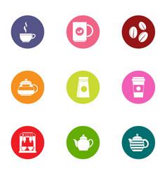Hot tea icons set flat style vector