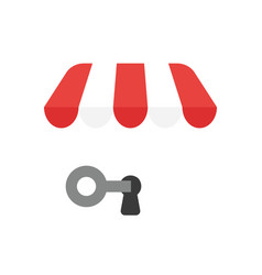 icon concept of key into keyhole under shop store vector image