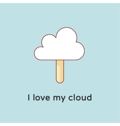 Icon of Cloud files with ice cream and candy-floss vector image