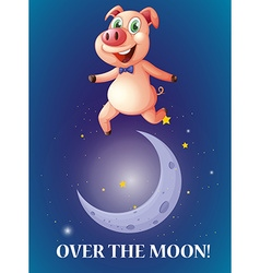 Idiom over the moon vector image