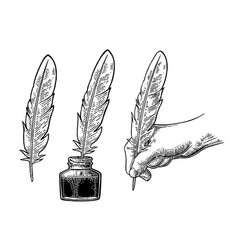 Inkwell and female hand holding a goose feather vector