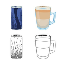 Isolated object of drink and bar logo set of vector