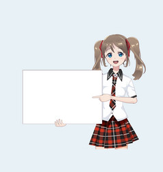 Japanese asian woman holding white big sign board vector