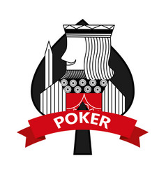 king of spades card poker ribbon symbol vector image