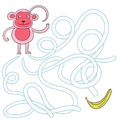 Labyrinth maze find a way monkey vector image