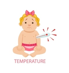 Little Baby Girl In Nappy With Thermometer Has vector