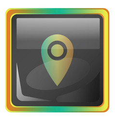 lockation grey square icon with yellow and green vector image
