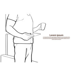 Man hold tablet computer coffee cup closeup sketch vector