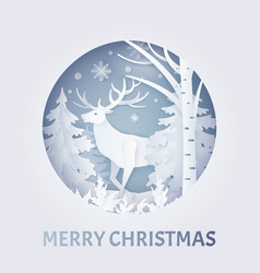 merry christmas greeting with deer in forest vector image