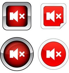 Mute button set vector