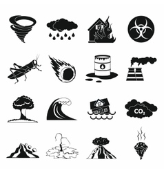Natural disaster icons set black simple style vector