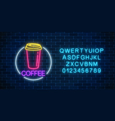 neon glowing sign of coffee cup in circle frame vector image