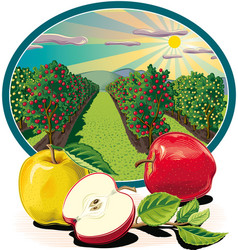 Oval frame with apple vector