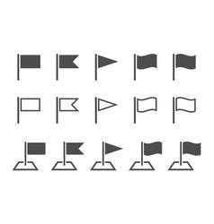 pennant icons set black flag signs on white vector image