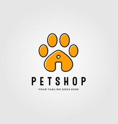 Pet shop logo with footprints design line art pet vector