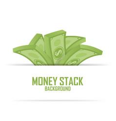 Piles money stack cash dollar on white vector