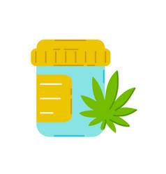 Pills bottle with marijuana weed trendty vector